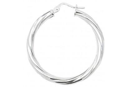 Sterling Silver Twist Hoop Earrings